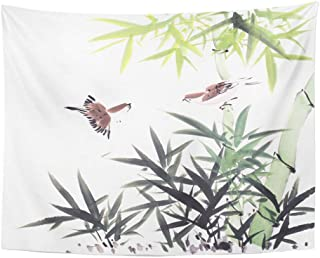 AOCCK Tapices Wall Hanging Drawing Traditional Chinese Painting Bamboo and Birds China Graphic Ink Silhouette 60