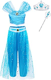 AmzBarley Princess Jasmine Costume Dress Up for Girl Party Dress Aladdin Princess Halloween Cosplay Belly Dance Outfit