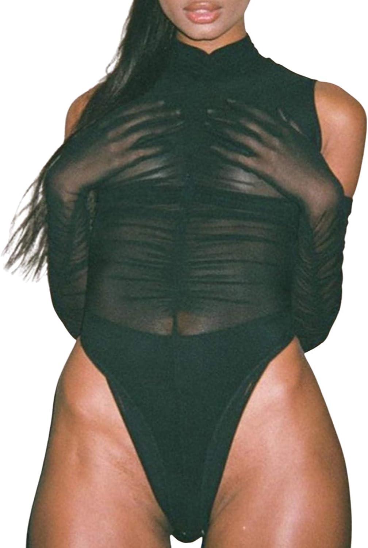Women Long Sleeves Mesh See Through Bodysuit Top Sexy Leotard Jumpsuit Tops