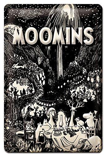 Logoshirt Mumins - Garten-Party - Moomins Bleschilder Retro - Blechschild Vintage Balkon - 20x30 - Lizenziertes Originaldesign