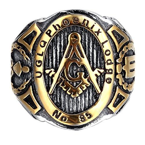 HIJONES Schmuck Herren Edelstahl Freimaurer Freimaurer Ringe, Herrschsüchtig, Europäische Stil, Gold Black Silver Größe 57 (18.1)