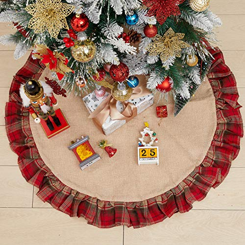 Burlap Christmas Tree Skirt with Dark Red and Black Buffalo Plaid Ruffle Edge, Rustic Xmas Tree Mat for Home Decor Holiday Party Farmhouse, 36 Inch Round Indoor/Outdoor Decorations