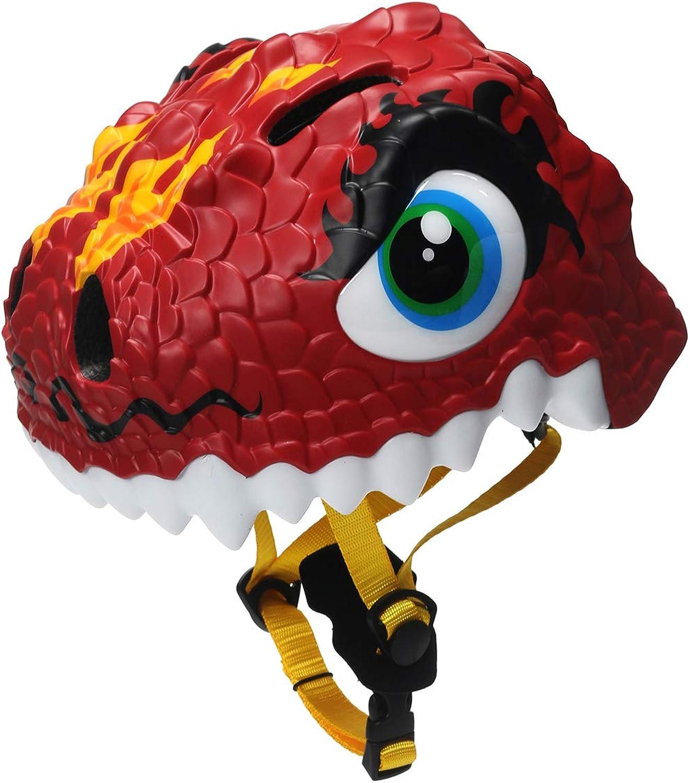 Toddler Bicycle Multi Sports Helmet 3D Cartoon Dinosaur Kids Bike Helmets for Girls&Boys