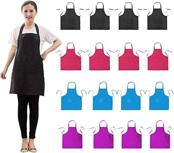 LOYHUANG Bib Apron Adult With 2 Pockets For Women Men Chef Cooking Baking Kitchen Grilling Painting Crafting Restaurant Waitress Waiter With 16 PCS Apron 16 Black Combination