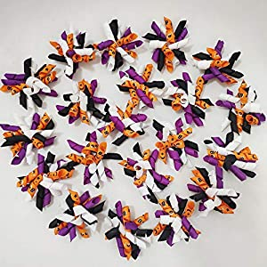 Hixixi 20pcs/Pack Halloween Pet Dog Cat Hair Bows Puppy Grooming Bows Hair Accessories with Rubber Bands (B#)