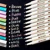Tritart Profi Metallic Stifte Set für Fotoalbum - Scrapbook - Glatte Oberflächen   12 Metallic Marker Pens GRATIS Schablonen