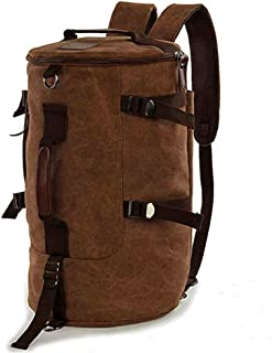 Men women Fashion Big Cylindrical backpack Canvas Leisure Travel Bag computer bag School[Moy-BR15]