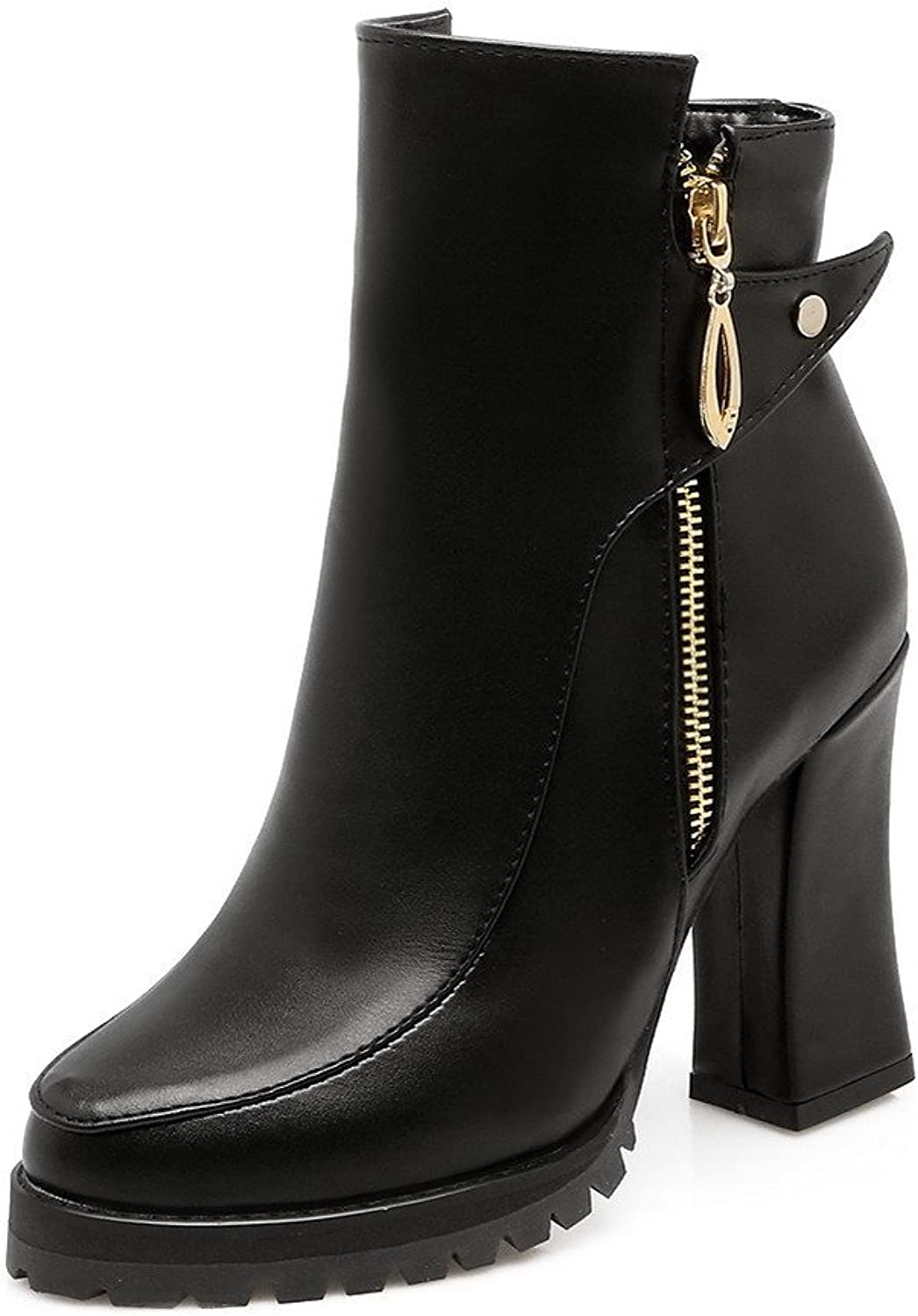 WeenFashion Women's Solid PU High-Heels Zipper Closed Round Toe Boots