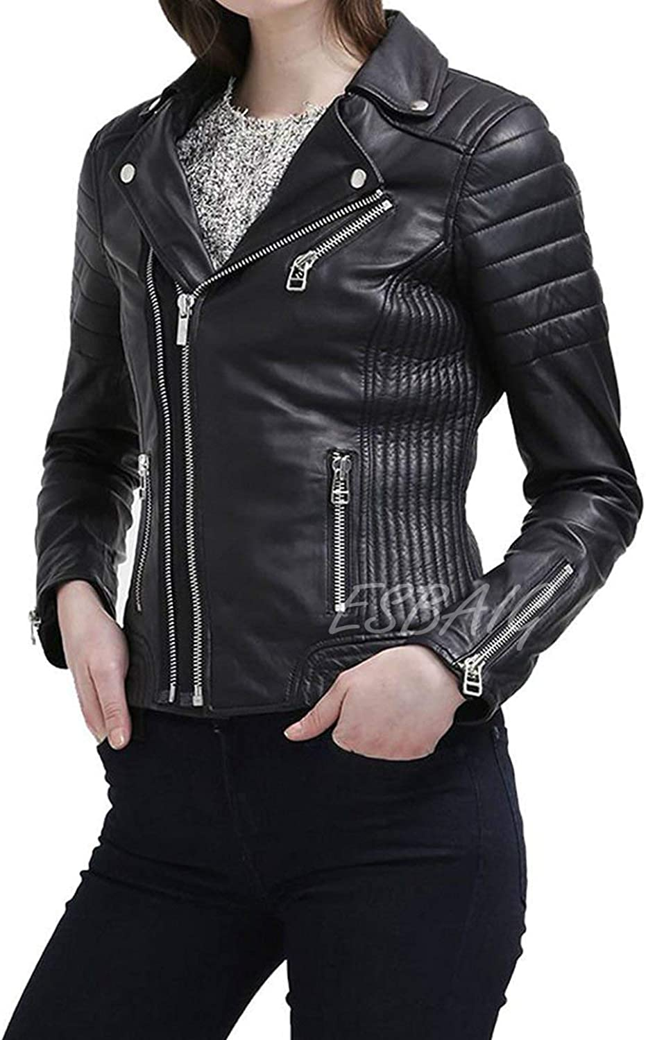 ESBAIG Womens Leather Jackets Stylish Motorcycle Bomber Biker Real Lambskin Leather Jacket for Women 516