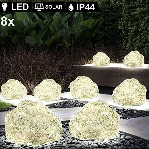 8er Set LED Solar Stein Deko Lampen Garten Beleuchtung Terrassen Erdspieß Leuchten grau