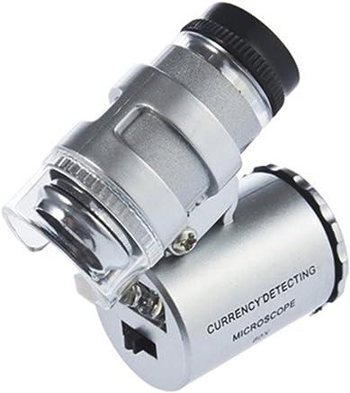 Sonline Mini Mikroskop 60x LED Taschenmikroskop Juwelier Vergroesserungsglas Einstellbare Lupe