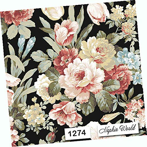 """Floral On Black Flowers Paper Napkins Decorative Individual Luncheon Decoupage Party Napkins 6.5"""" X 6.5"""" Folded Set of 4"""
