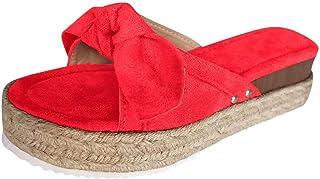 Geilisungren Damen Sandalen Low Top Mädchen Plateau Bogen Bowknot Flache Schuhe Plattform Loafers Slippers Espadrilles Sne...