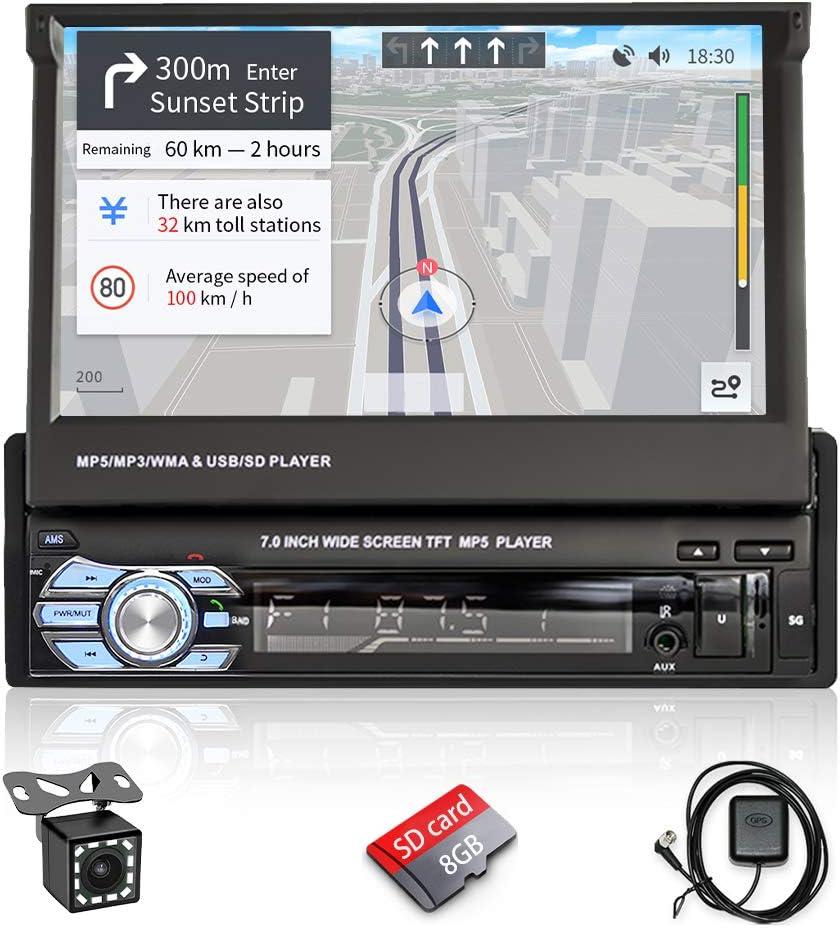 Hikity Autoradio 1 DIN Radio de Coche Navegador GPS 7 Pulgadas Desplegable Pantalla Táctil Coche FM Estéreo con Enlace de Espejo / USB / SD / AUX-IN / Cámara de visión Trasera