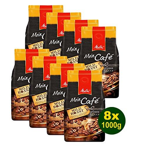 Melitta Mein Café Mild Roast, Kaffeebohnen, 8x 1000g (8000g) - Kaffee mit feiner fruchtiger Note!