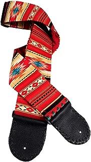 Sunburst Native American Motif Guitar Strap Artisan Handmade in Red, Black, Cream, and Turquoise