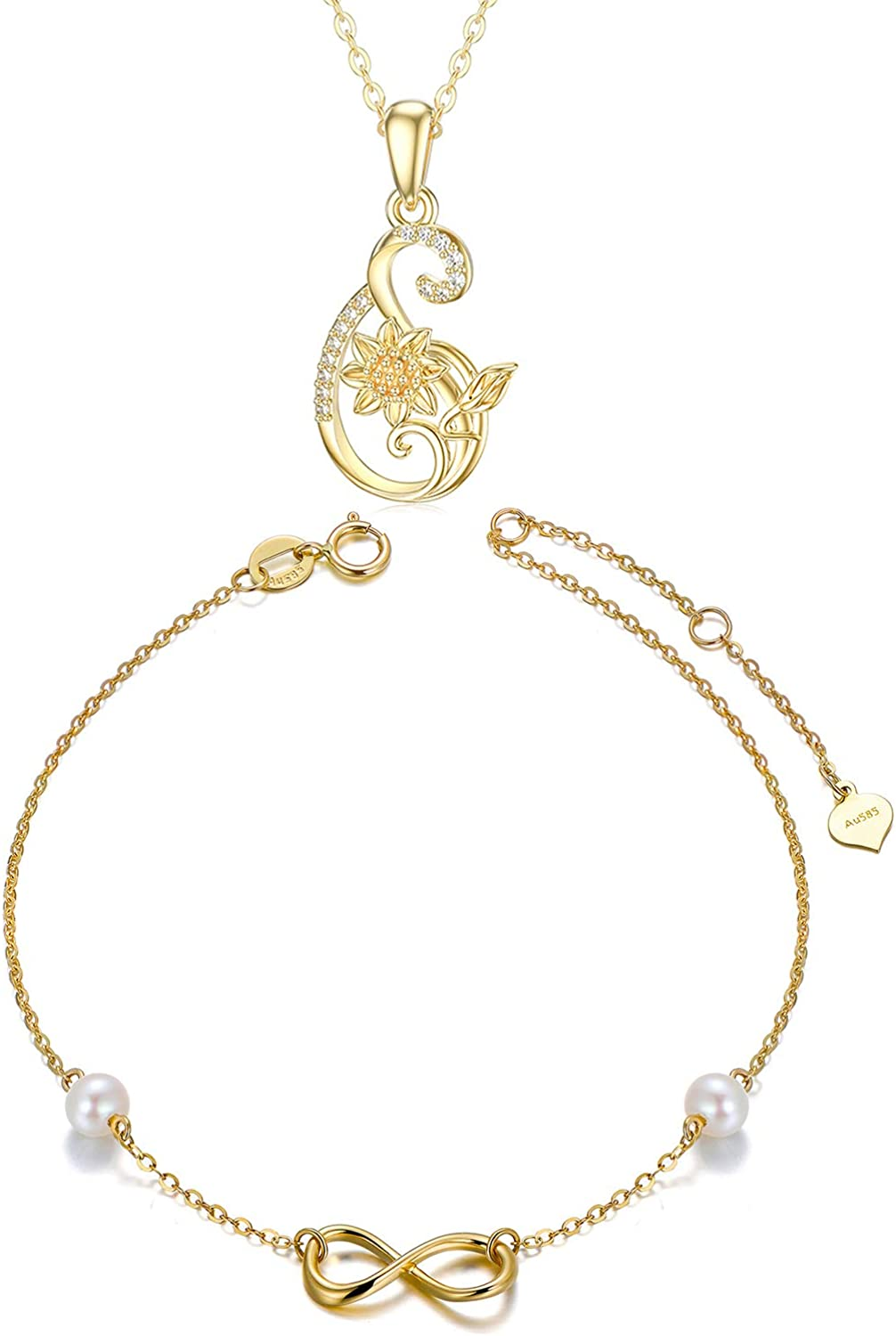 14k Gold Infinity Love Jewelry for Women, Sunflower Necklace and Pearl Bracelet Set