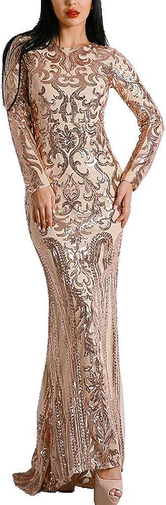 Lin Lin Q Sexy O Neck Long Sleeve Retro Sequin Maxi Gorgeous Dress