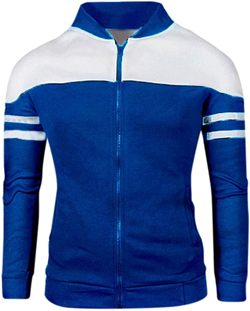 Berrykey Casual Men's Autumn Winter Zipper Sportswear Patchwork Jacket Soft Fabric Coat Sweatshirt with Pockets