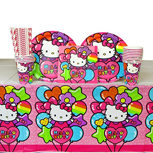 Hello Kitty Birthday Party Supplies Pack for 16 Guests: Straws, Dinner Plates, Luncheon Napkins, Cups, and Table Cover   Have The Best Hello Kitty Party With This Rainbow Party Set!