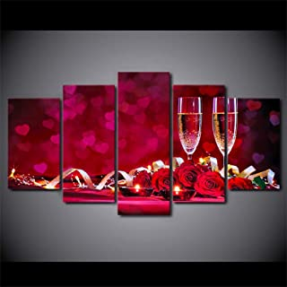 Wall Art Canvas Prints 5 Pcs Painting Modern Art Live 5 Panel Romantic Dinner Picture Red Roses Wine Canvas Wall Decoration Framework Modular Poster