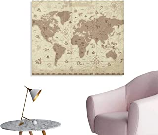 Anzhutwelve Map Wall Paper Aged Retro Styled Map of The World with Mountains Fantasy Monsters and Compass Funny Poster Sepia Pale Yellow W36 xL32