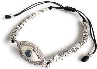 Evil Eye Charm Rhodium Plated Adjustable Bracelet Macrame Sliding Knot