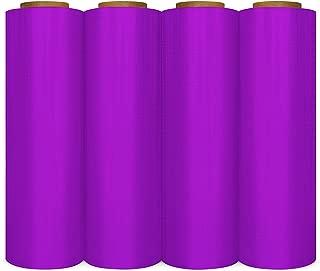 Stretch Wrap Film, Plastic Cling Wrap, Purple, 18 Inch x 1500 Feet, 80 Gauge, 4 Pack