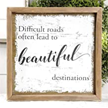 Blossom Bucket Difficult Roads Often Lead to Beautiful Destinations Wall Sign Art, Multi-Colored