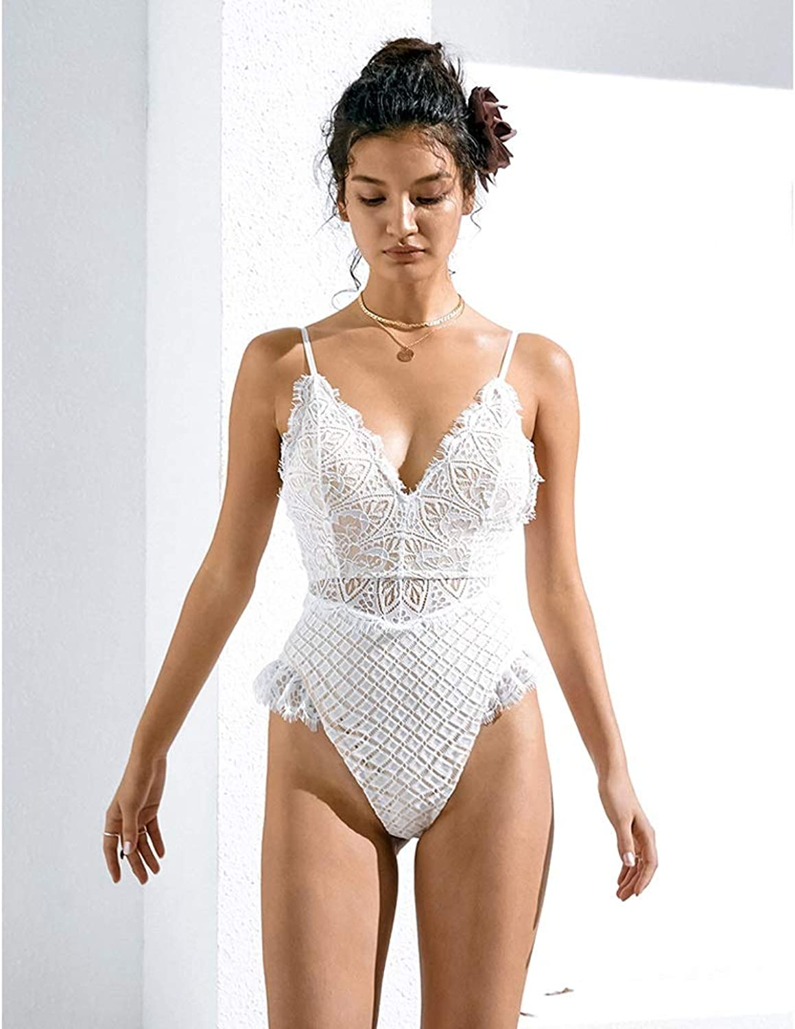 Hzpxsb White Swimsuit Female Conservative Cover Belly Slim Backless Sexy lace onePiece Swimsuit Swimsuit (Size   S)