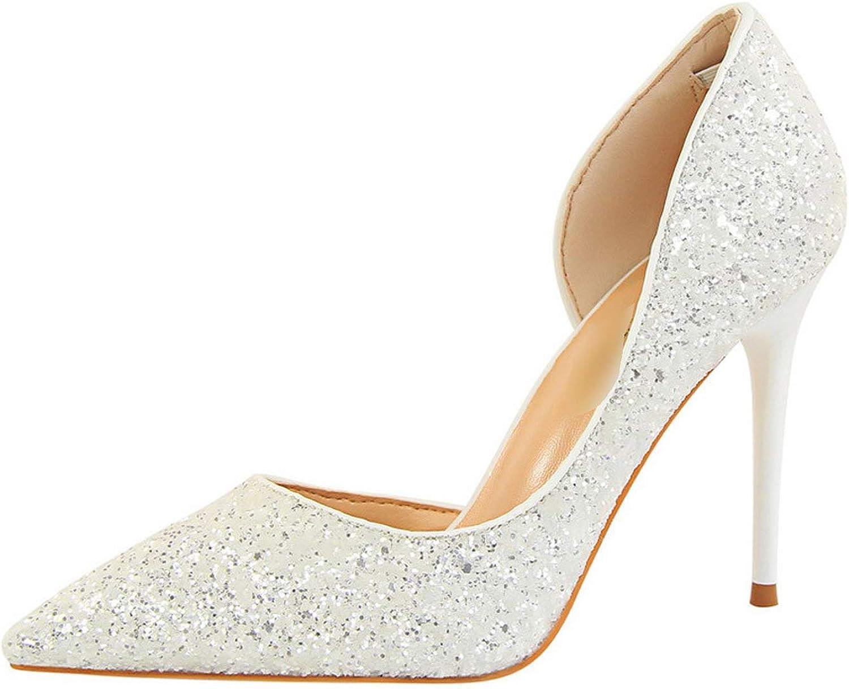 Milk Maniac 2019 Women Pumps Summer shoes Pump Sexy High Heels Lady shoes Thin Heel Sequins Bling