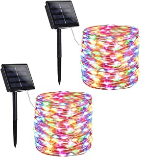Solar Christmas Lights, Solar String Lights 200 LED 72ft 8 Modes, Solar Powered String Lights Waterproof Copper Wire led String Lights for Garden, Patio, Wedding, Party, Xmas (Multicolor, 2 Pack)