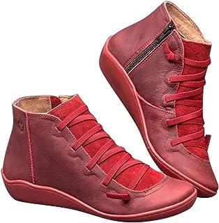 Fanville Vrouwen Vintage Britse Stijl Lederen Enkellaarzen Herfst Lace Up Schoenen Comfortabele Platte Hak Laarzen Rits Ko...