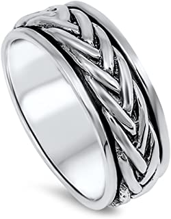 CloseoutWarehouse Sterling Silver Classic Braided Spinner Ring