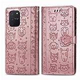Miagon PU Cuir Portefeuille Coque pour Samsung Galaxy S10 Lite,Chat Chien Animal Gaufrage Flip Cover Étui à Rabat Magnétique Case Style Livre Protection Housse avec Support,Or rose