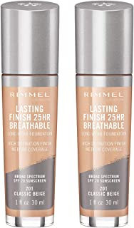 Rimmel lasting finish breathable foundation, classic beige, pack of 2, 1 Fl Oz