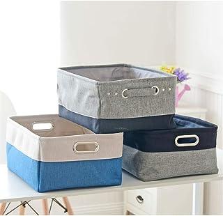 Boîtes de rangement pliable Set de 3 pliable en tissu Boîte de rangement en toile Panier de rangement avec poignées for ét...