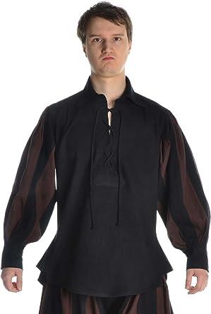 Hemad Camisa Landsknecht de Hombre Medieval - Cordón Delantero, Mangas abullonadas, algodón - S-XXXL Negro, Rojo, Negro-Verde, Negro-Marrón, ...