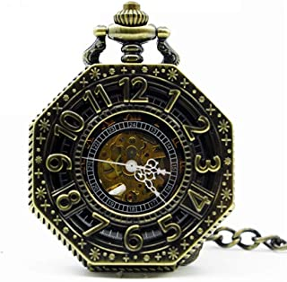 YXZQ Pocket Watch, Polygon Hollow Retro Mechanical Chain Skeleton Hand Winding Metal Fob Clock Gifts