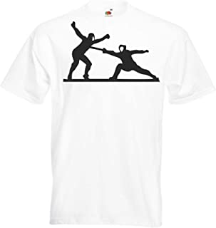 Camiseta T-Shirt - Jugando Esgrima Duo - JDM/Die Cut - para Fiesta Carnaval Carnaval Laboral Deportes