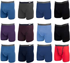 Fruit of the Loom, 12 Pack Random, Mens Underwear, Underwear for Men, Cotton Underwear, Boxer Briefs with Fly, Tag Free