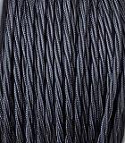 Cavo Elettrico Treccia/Trecciato Rivestito in Tessuto. Colore Nero. Sezione 3x0.75 - 10 Metri