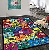 Rugshop Kids Educational Learning Alphabet Non Skid (Non Slip) Area Rug 3'3' x 4'7' Multi