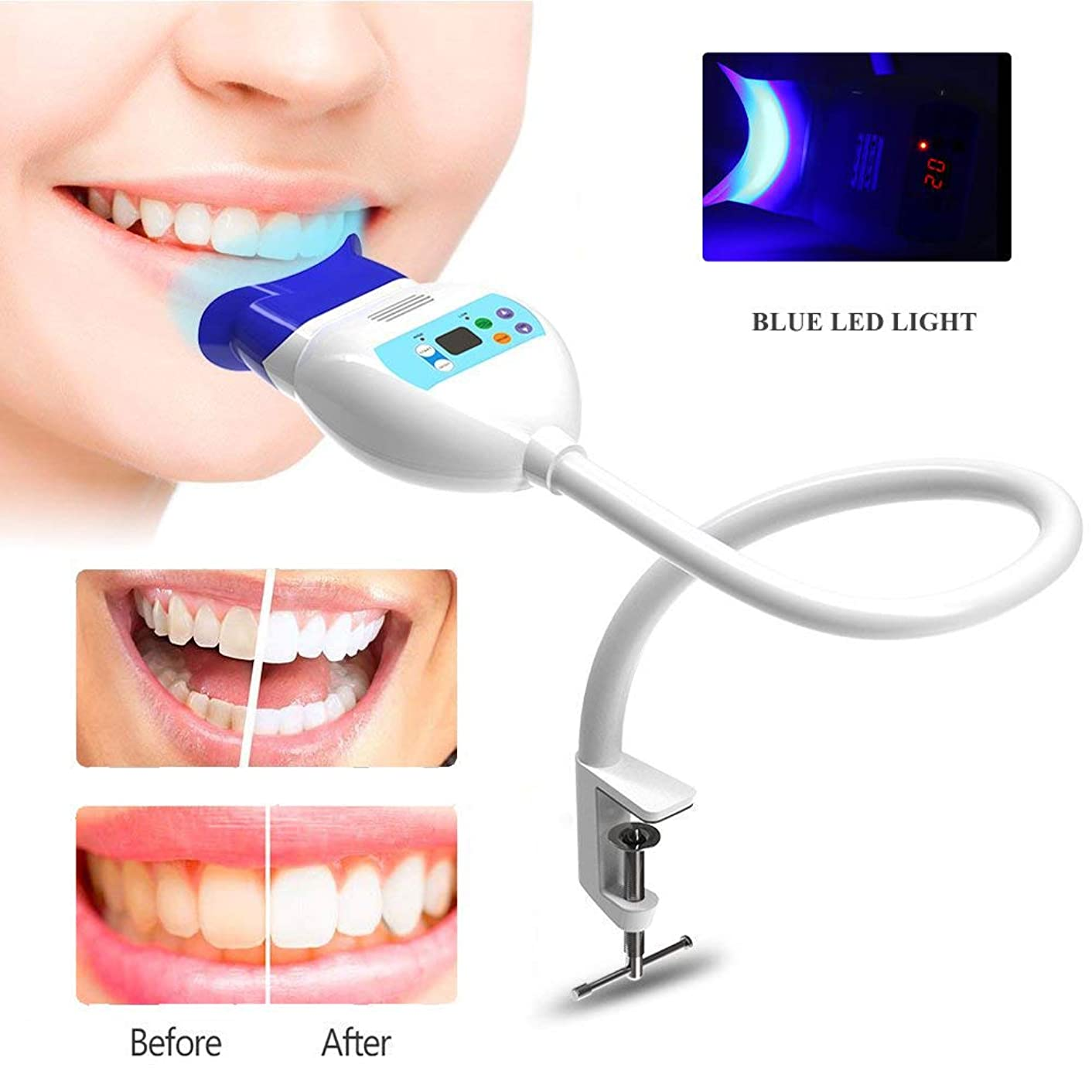 虫を数える力みすぼらしいホームオフィスの使用のための卓上スタンド歯科漂白システムで握っているLEDの青い冷光の歯のホワイトナー装置を白くする歯