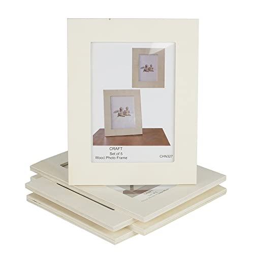 54b85e3e522e Unfinished Solid Wood Photo Picture Frames 5x7 Inch Ready to Paint for DIY  Projects Set of