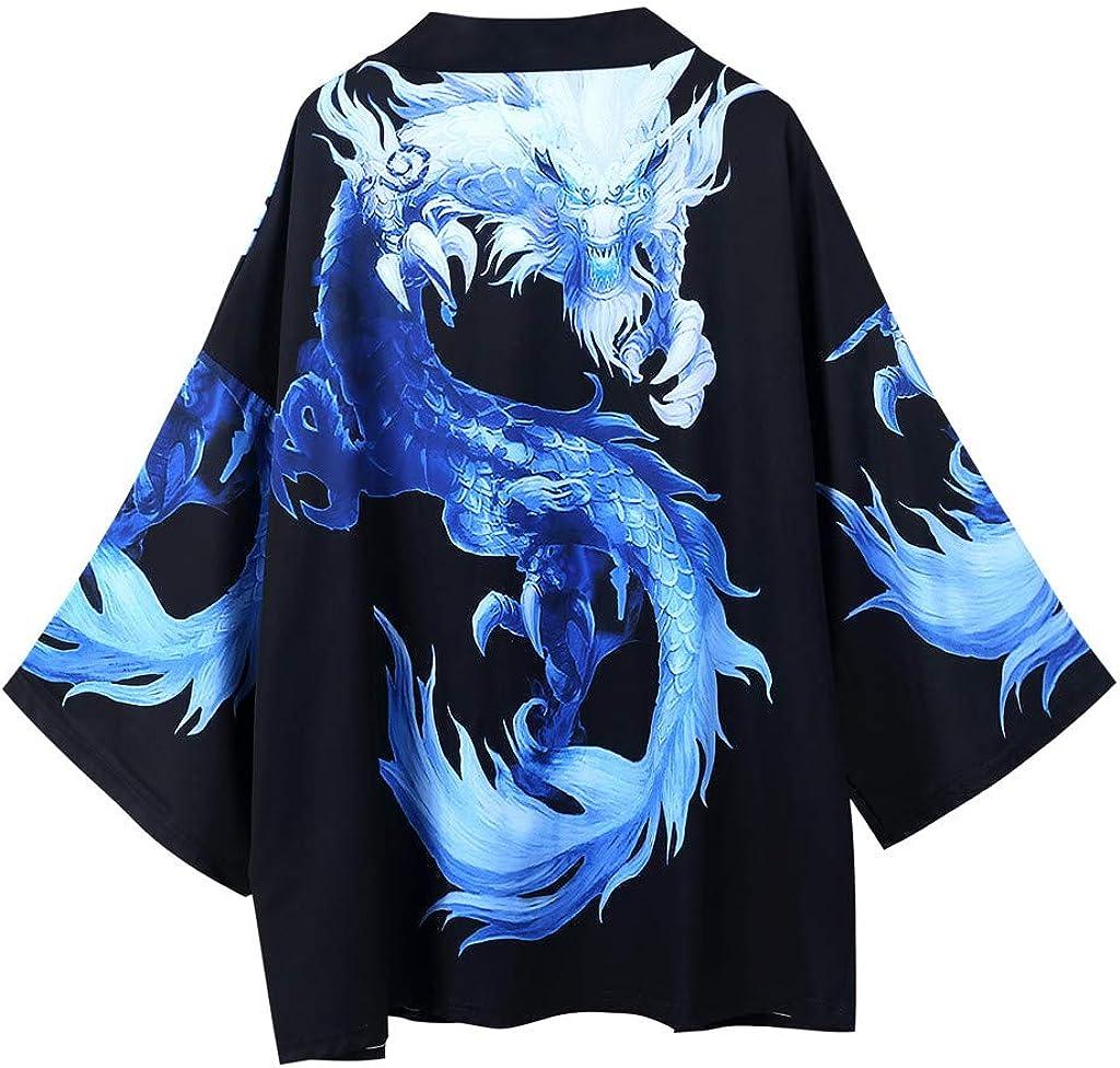 Kimono for Men, F_Gotal Men Kimono Printed Open Front Cardigan Cover Up Shawl Collar Unisex Robe Jackets Drape Cape Coat