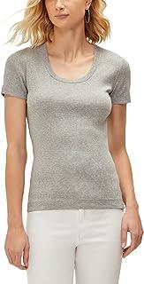 Three Dots Women's Essential Heritage Short Sleeve Scoop Neck Tee