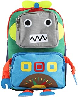 Canvas Robot Shape Kindergarten Schoolbag Kid Cartoon Backpack Travel and School(Green)