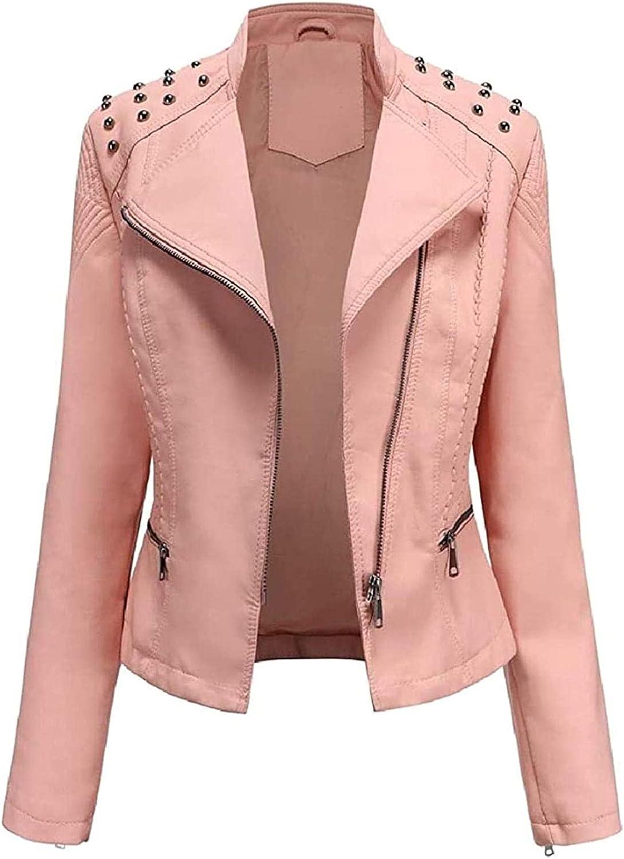 Womens Casual Pu Leather Zipper Motorcycle Biker Slim Fit Coat Jacket