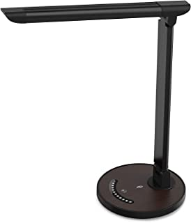 TaoTronics LED Desk Eye-Caring Table, Dimmable Office Lamp with USB Charging Port, 5 Lighting Modes with 7 Brightness Levels, Touch Control, 12W, Philips Enabled Licensing Program, Black Wood Grain